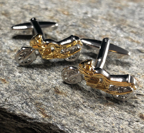 Silver and Gold Motorcycle Cufflinks