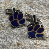 Blue and Silver Dog Paw Print Cufflinks