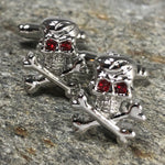 Silver Skull and Crossbones Cufflinks with Red Stone Eyes