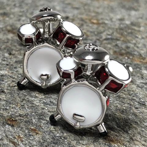 Red and White Drum Set Cufflinks