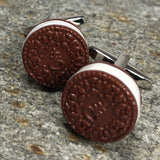 Brown and White Cookie Cufflinks