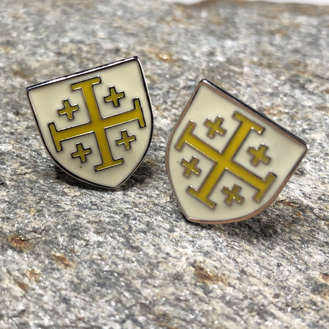 White and Yellow Templar Cross Shield Cufflinks