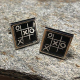 Black and Silver Tic-Tac-Toe Gameboard Cufflinks