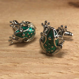 Green and Silver Frog Cufflinks