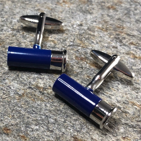 Blue and Silver Shotgun Shell Cufflinks