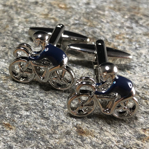 Silver and Blue Cyclist Cufflinks