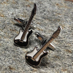 Black and Silver Electric Guitar Cufflinks