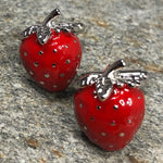 Silver and Red Strawberry Cufflinks