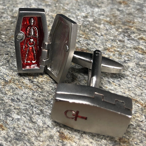 Silver and Red Hinged Coffin Cufflinks