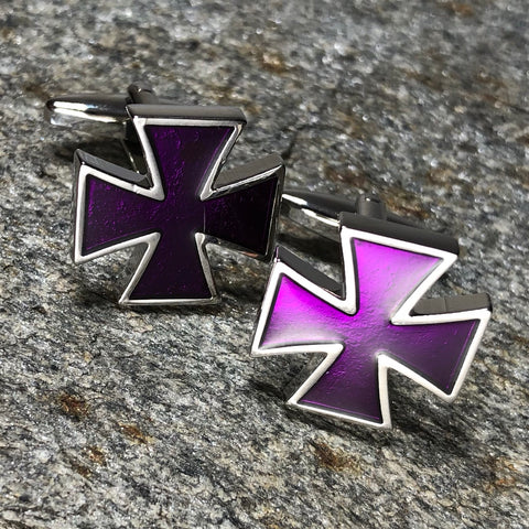 Purple Patty Cross Cufflinks