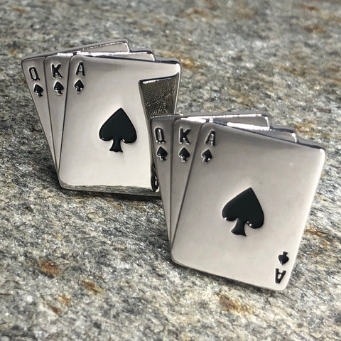 Silver Queen King and Ace Playing Card Cufflinks
