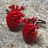 Red Anatomical Heart Cufflinks