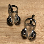 Silver and Black Headphones Cufflinks