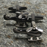 Black and Silver Helicopter Cufflinks