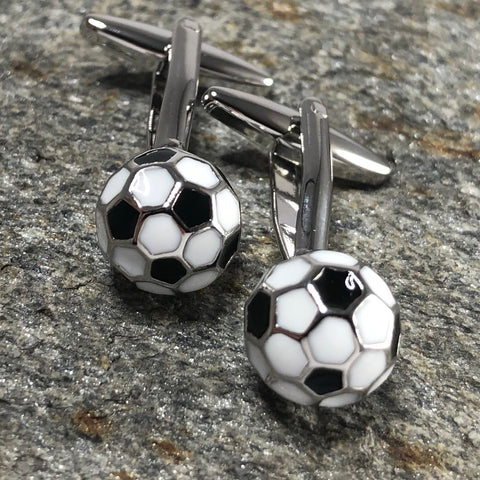 White and Black 3D Soccer Ball Cufflinks