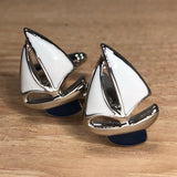 White and Blue Sailboat Cufflinks