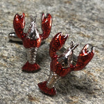Silver and Red Lobster Cufflinks