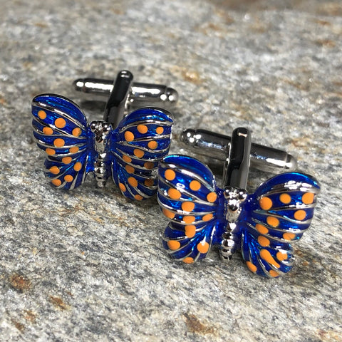 Blue and Orange Butterfly Cufflinks