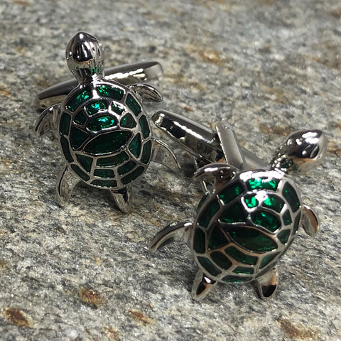 Green and Silver Turtle Cufflinks