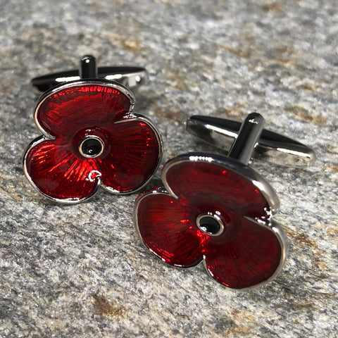 Red and Silver Poppy Flower Cufflinks