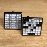 Black and White Crossword and Sudoku Cufflinks