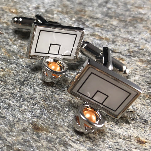 White and Silver Basketball Hoop Cufflinks with mini Orange Basketball