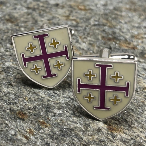 Purple and White Templar Shield Cufflinks