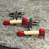 Red and Silver Firefighter Axe Cufflinks