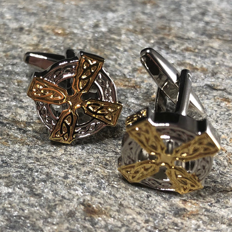 Silver and Gold Celtic Cross Cufflinks