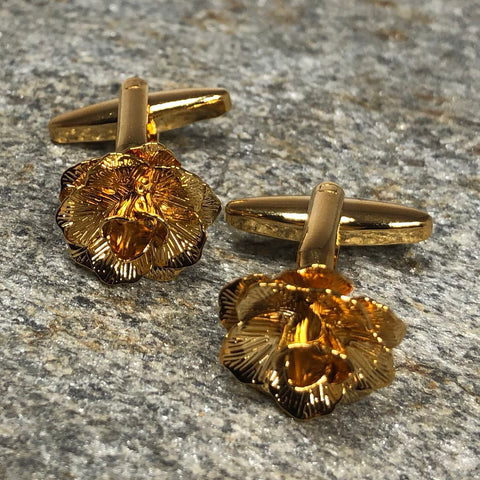 Gold Rose Flower Cufflinks