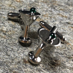 Silver Martini with Green Olive Cufflinks