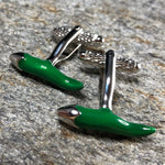 Green and Silver Chili Pepper Cufflinks