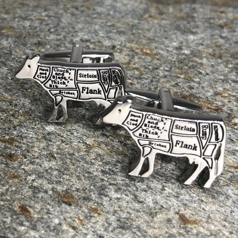Silver Cow Butcher Chart Cufflinks