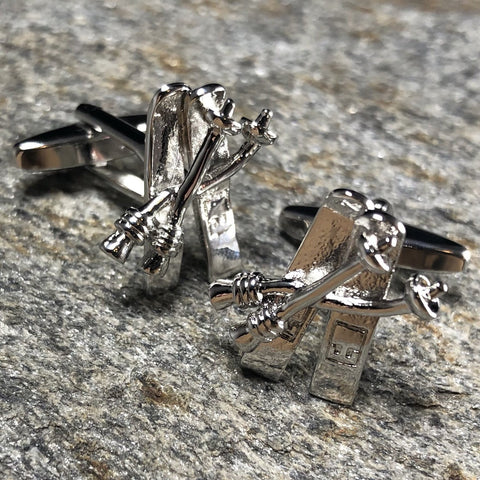 Silver Crossed Skis Cufflinks