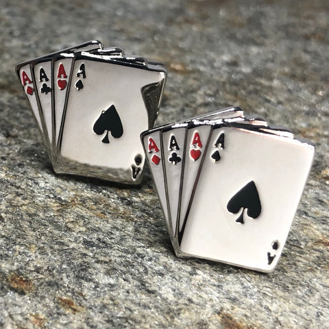 Silver Four Aces Playing Card Cufflinks