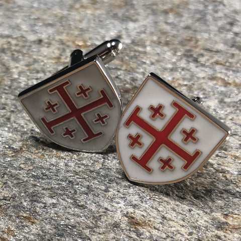 White and Red Templar Cross Shield Cufflinks
