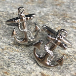 Silver Anchor with Wrapped Rope Cufflinks