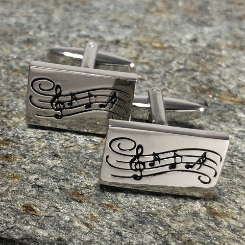 Silver Measure of Music Notes Cufflinks