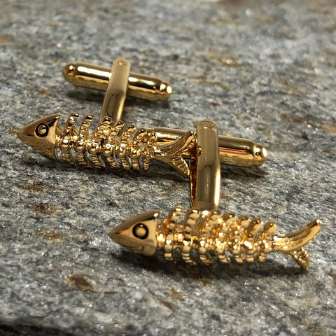 Gold Fish Skeleton Cufflinks