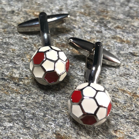 3D White and Red Soccer Ball Cufflinks