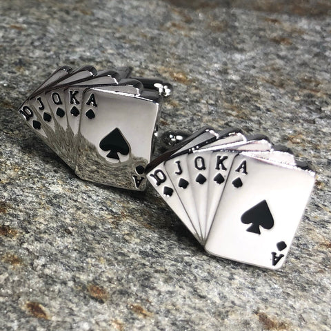 Silver Royal Flush Playing Card Cufflinks