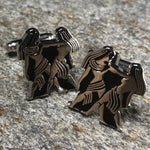 Silver and Black Gemini Zodiac Symbol Cufflinks