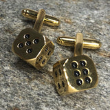Gold Six Sided Dice Cufflinks