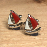 Red White and Blue Sailboat Cufflinks
