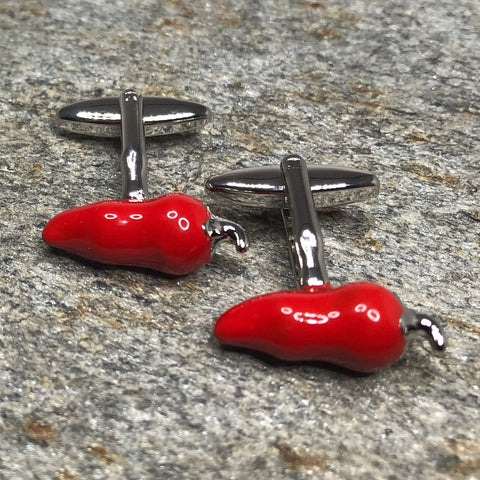 Red and Silver Chili Pepper Cufflinks