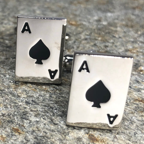 Silver Ace of Spades Playing Card Cufflinks