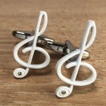 White Treble Clef Cufflinks