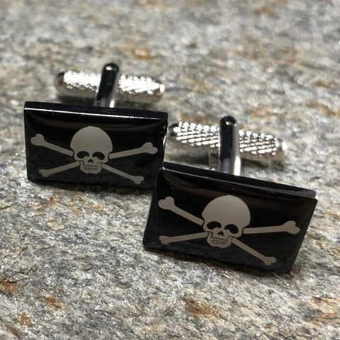 Black and White Jolly Roger Pirate Flag Cufflinks