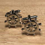 Silver Ships Helm Wheel Cufflinks