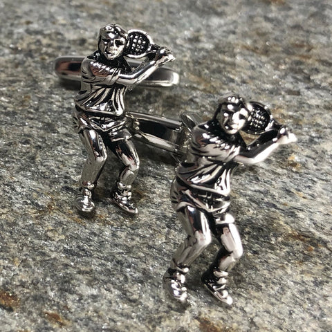 Silver Tennis Player Profile Cufflinks